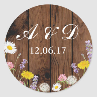 Rustic Wild Flowers Wood Lights Stickers Label