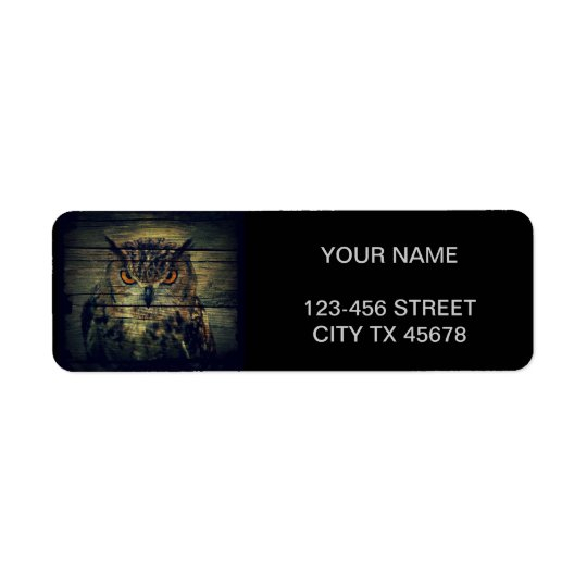 Rustic wild owl on barnboard background return address label