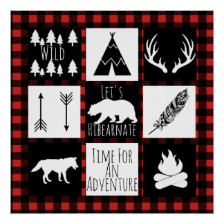 Rustic Wilderness & Animals Buffalo Check Plaid Poster