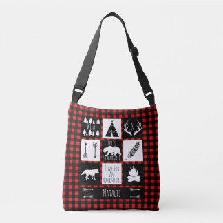 Rustic Wilderness Buffalo Check Plaid & Baby Name Crossbody Bag
