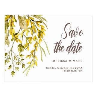 Rustic Wildflower Watercolor Save the date Wedding Postcard