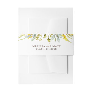 Rustic Wildflower Watercolor Wreath Wedding Invitation Belly Band