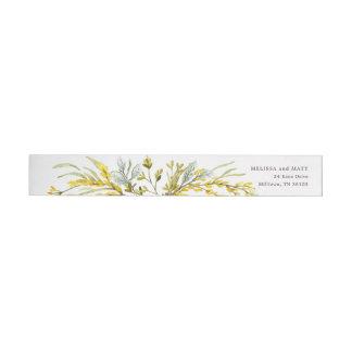 Rustic Wildflower Watercolor Wreath Wedding Wrap Around Label