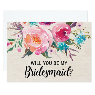 Rustic Will You be My Bridesmaid Card