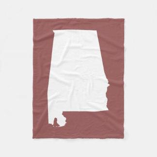 Rustic Wine and White Alabama Fleece Blanket