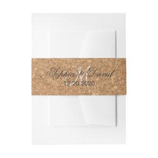 Rustic Wine Cork Wedding Monogram Invitation Belly Band