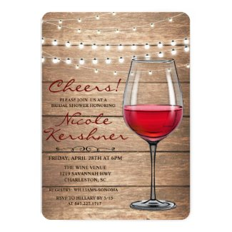 Rustic Wine String Lights Bridal Shower Invitation