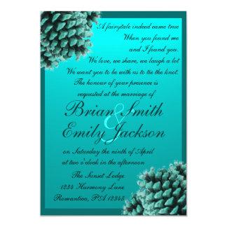 Rustic winter blue pine cone wedding invitations