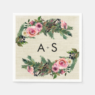 Rustic Winter Burlap Pine Rose Wedding Monogram Paper Napkin