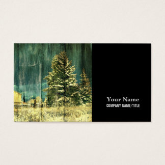 Rustic winter evergreen old barnwood cottage cabin business card