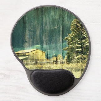 Rustic winter evergreen old barnwood cottage cabin gel mouse pad