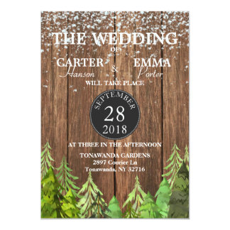 Rustic Winter Evergreen Snow Wedding Invitation