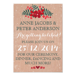 Rustic Winter Floral Wedding Invitation