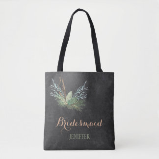 Rustic winter forest chalkboard wedding bridesmaid tote bag