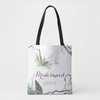Rustic winter forest watercolor wedding bridesmaid tote bag