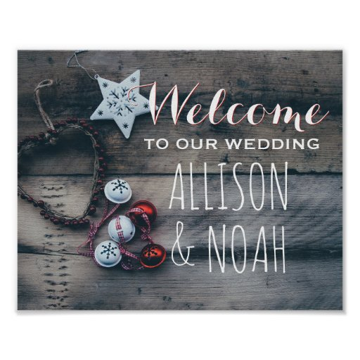 Rustic Winter Holiday Wedding Welcome Sign | Wood