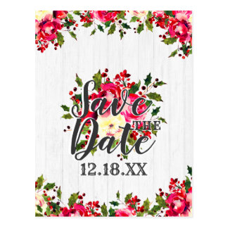 Rustic Winter Holly Berry White Wood Save the Date Postcard