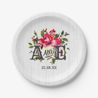 Rustic Winter Holly White Wood Wedding Monogram Paper Plate