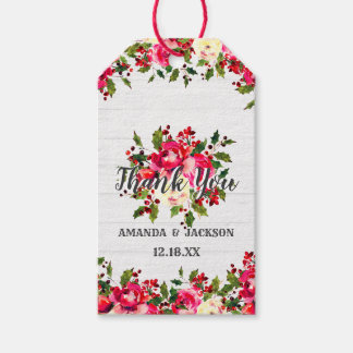 Rustic Winter Holly White Wood Wedding Thank You Gift Tags