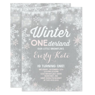 Rustic Winter ONEderland Birthday Invitation