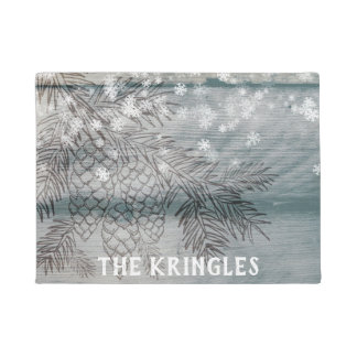 Rustic Winter Pine Tree Branches Snowflakes Name Doormat