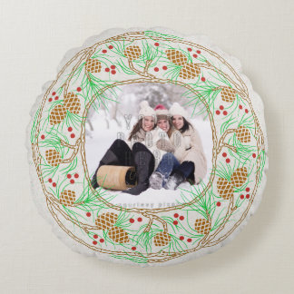 Rustic Winter Pine Wreath | Family Holiday Photo Round Pillow