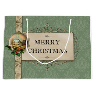 Rustic Winter Scene on Green Damask Large Gift Bag