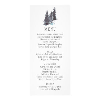 Rustic Winter Scene Pine Trees and Snow Menu |
