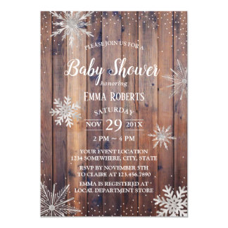 Rustic Winter Snowflakes Barn Wood Baby Shower Card
