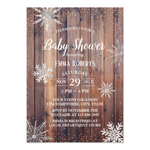 Rustic Winter Snowflakes Barn Wood Baby Shower Invitation