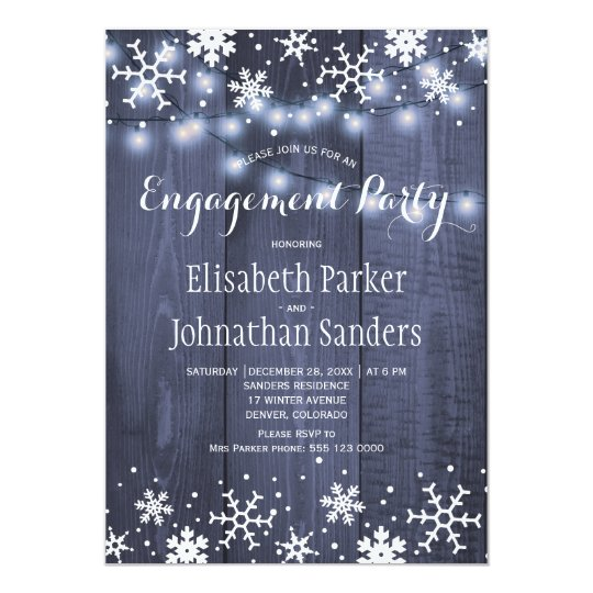 Rustic winter snowflakes engagement party card