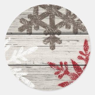 Rustic Winter Snowflakes Round Sticker