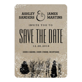 RUSTIC WINTER TREE SAVE THE DATE CARD