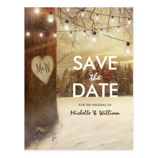 Rustic Winter Tree Twinkle Lights Save the Date Postcard