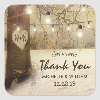 Rustic Winter Tree Twinkle Lights Wedding Square Sticker