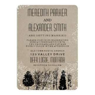 RUSTIC WINTER TREE WEDDING INVITATION