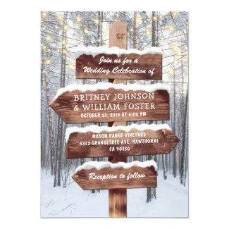 Rustic Winter Wonderland Woodland Lights Wedding Invitation