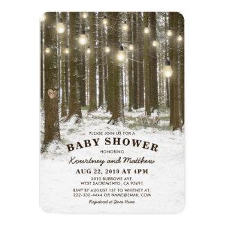 Rustic Winter Wonderland Woodland Tree Baby Shower Card