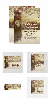 Rustic Winter Woodland Lights Invitation Suite