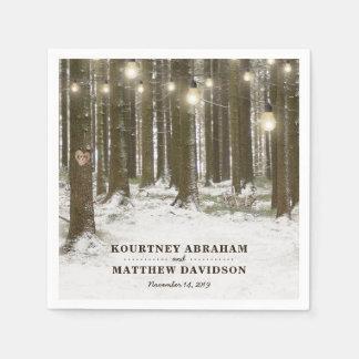 Rustic Winter Woodland Tree String Lights Wedding Disposable Napkin