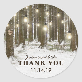 Rustic Winter Woodland Tree Wedding Favor Classic Round Sticker