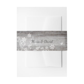 Rustic with Flowers Invitation Belly Band