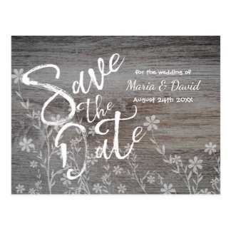 Rustic with Flowers | Save the Date Postcard