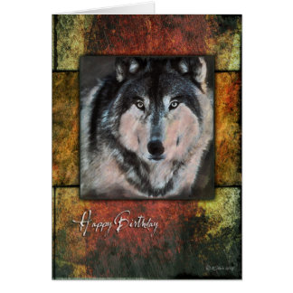 Rustic Wolf Birthday Card Greeting Cards