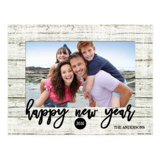 Rustic Wood 2016 New Year | Holiday Photo Postcard