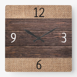 Rustic Wood And Burlap Farmhouse Square Wall Clock