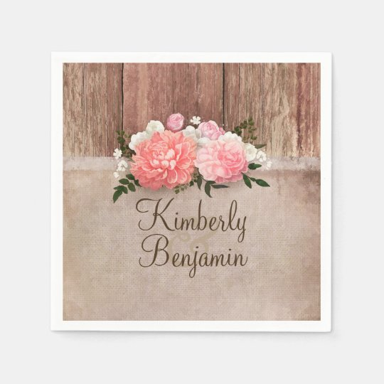 Rustic Wood and Burlap Floral Barn Wedding Disposable Napkin