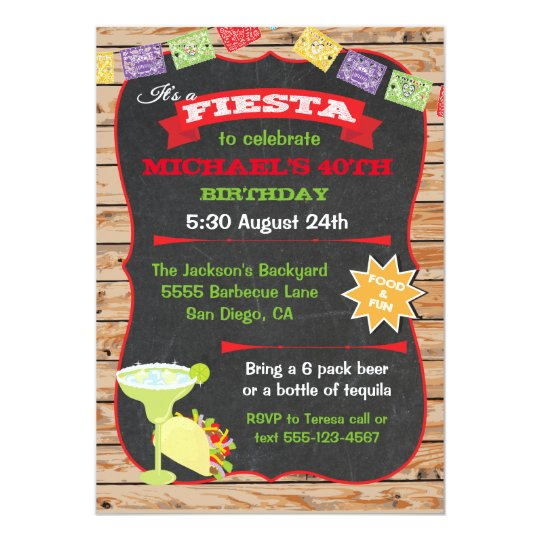 Rustic wood and chalkboard Mexican Fiesta Birthday Card