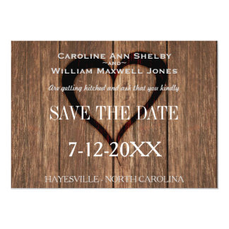 Rustic Wood and Engraved Heart Save the Date Card