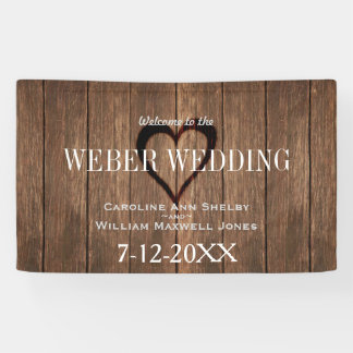 Rustic Wood and Engraved Heart Wedding Banner